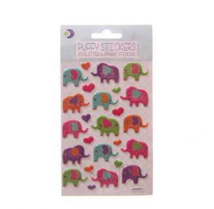 Glitter Elephant Puffy Stickers