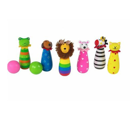 6 colourful, multi colours skittles with animal heads