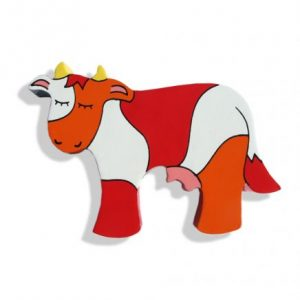 Cow Magnetic Wooden Animal - cow shaped wooden animal with hidden magnet. Colours: yellow horns, white, red and orange pattern