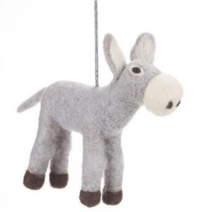 grey donkey felt animal with string hanging attachment. Donkey is grey all over apart from the nose area