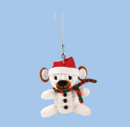 white bear wearing red santa hat and scarf christmas decoration