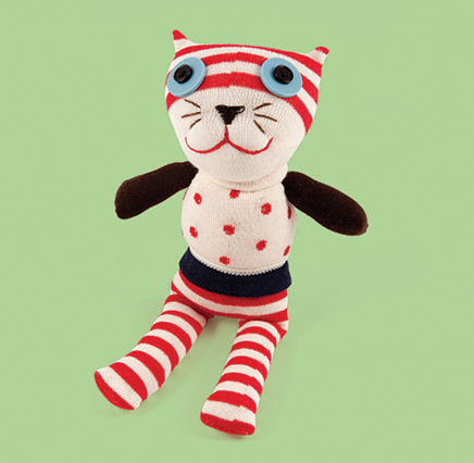 Red and White Spotty Cat Soft Toy