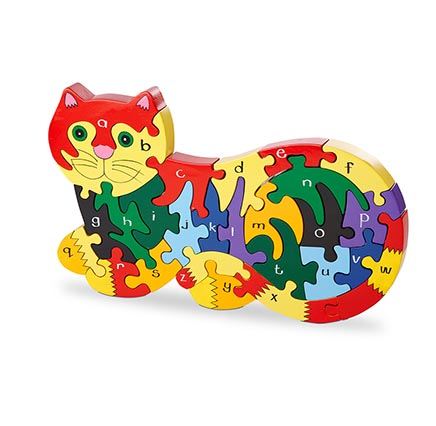 Multicoloured jigsaw puzzle in the shape of a cat featuring the alphabet