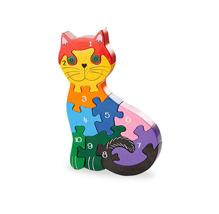 Cat shaped jigsaw with numbers from 1-10 painted on the front. Multicoloured