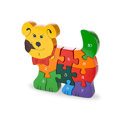 Dog Jigsaw Puzzle in the shape of a dog with multicoloured pieces each with a number on from 1-10