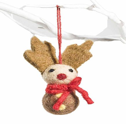 small stylised reindeer in brown and red