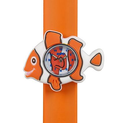 Orange and white clownfish watch on an orange snapband watch