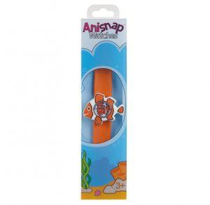 Orange Clownfish shaped watch on orange snapband in its box