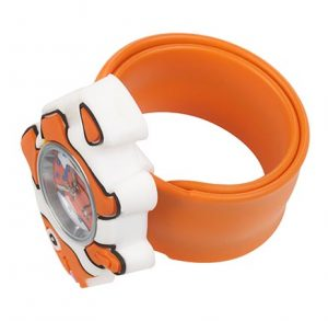 Orange Clownfish watch on orange snapband - watch is rolled