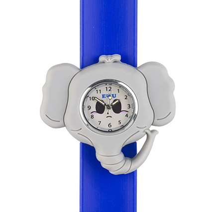 Elephant watch grey head on a blue snapband