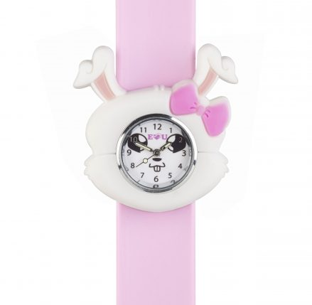 Pink silicone snap band with a white and pink silicone rabbit shape surrounding a rabbit faced watch face