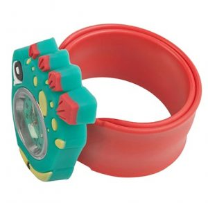 green and red stegosaurus watch on red snapband