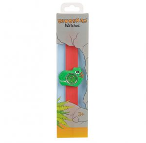 green and red T Rex watch on red snapband