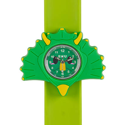 green triceratops watch on green snapband