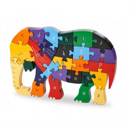Elephant Alphabet Jigsaw - multicoloured jigsaw in shape of an elephant with letters of the alphabet on each piece