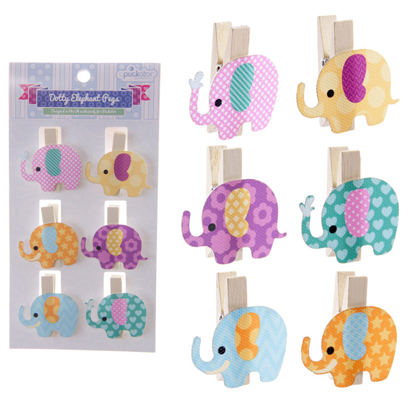 set of 6 craft pegs in the shape of an elephant - multi coloured with dots on each