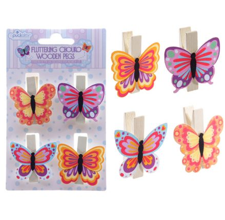 set of 4 multi coloured craft pegs - each depicts a butterfly