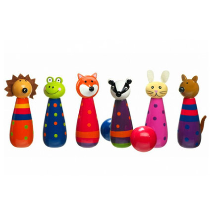 6 multi coloured wooden skittles with woodland animal heads