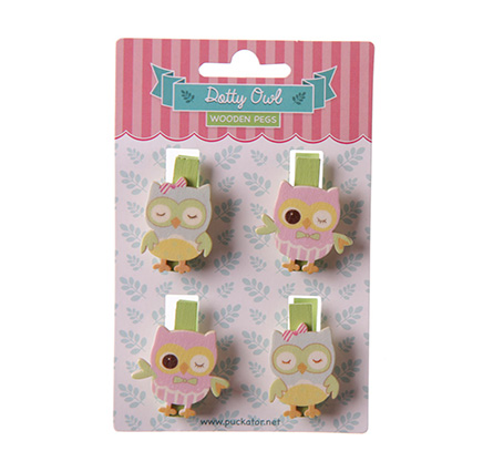 set pf 4 craft pegs in the shape of an owl - pastel pink and green