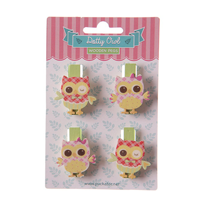 set of four craft pegs in the shape of owls - red and pink plaid colours