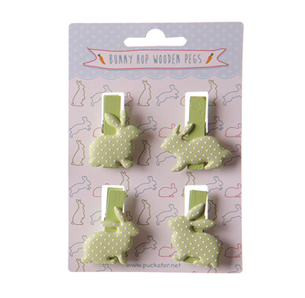 small craft pegs - set of 4 - in the shape of sitting bunny rabbit (green)