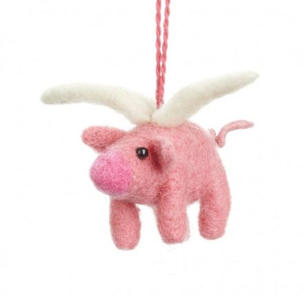 Flying Pig Felt Decoration - pink felt pig with white wings