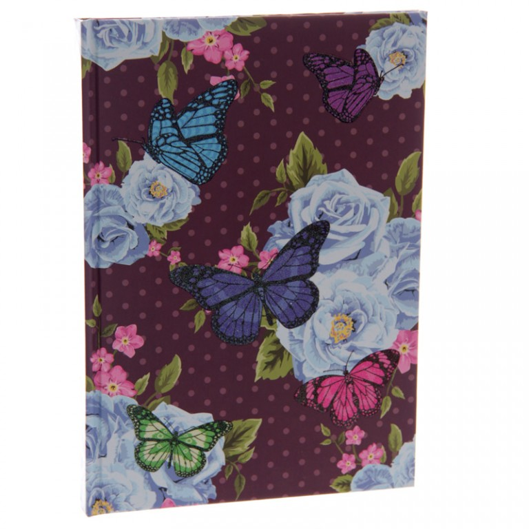 Butterfly Hardbacked Notebook - blackground with a colour design laid over the top with a floral theme and a large dark blue butterfly