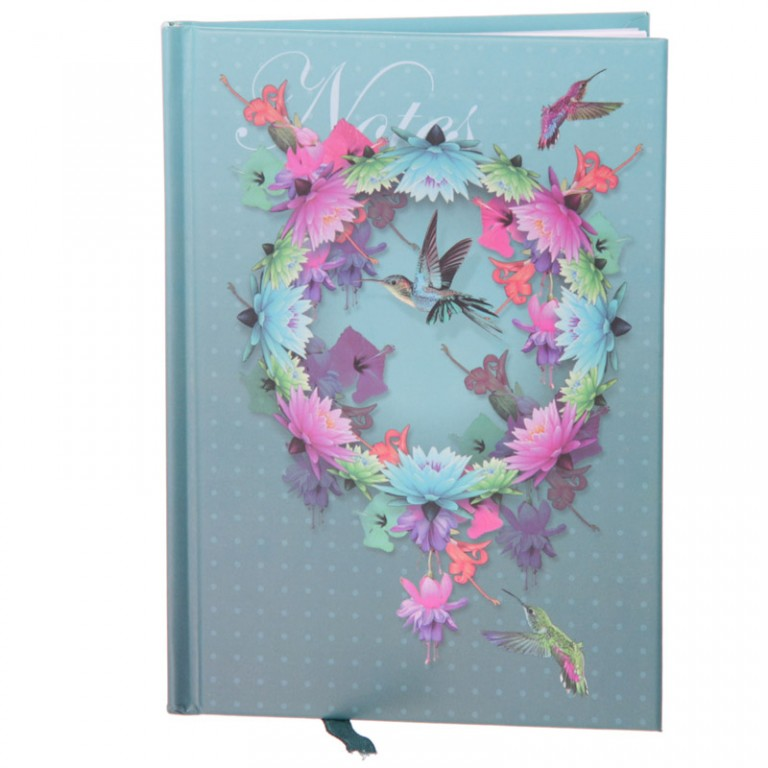 A6 size hardbacked notebook - the cover is blue/grey in colour and features a circular design of flowers and features a hummingbird