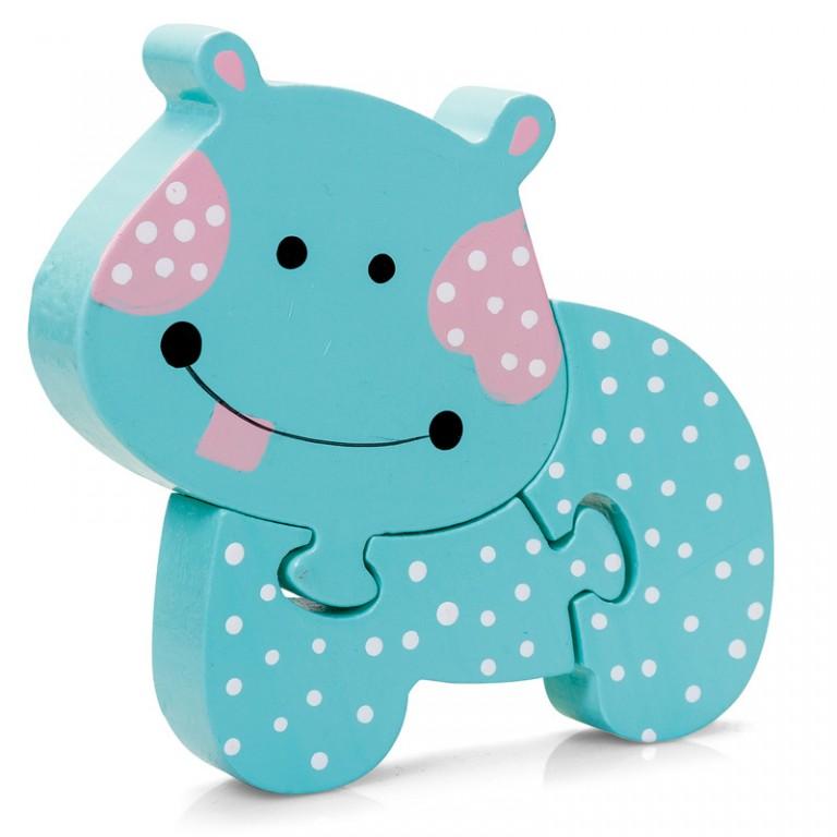 Turquoise 3 piece Hippo Jigsaw Mini Puzzle