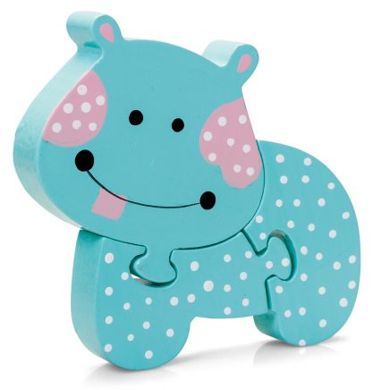 Turquoise 3 piece Hippo Jigsaw Mini Puzzle