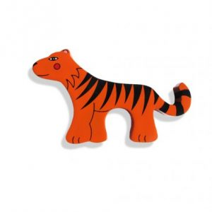 Tiger Magnetic Wooden Animal - wooden magnet in shape of tiger with magnet enclosed with the shape. Red and black in colour