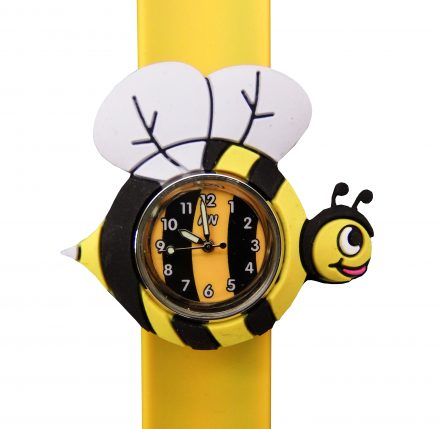 yellow silicone snap band with a yellow white and black bee shape surrounding a coloured watch face