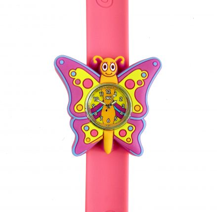 butterfly watch - dark pink silicone snap band with purple, yellow and pink silicone butterfly shape surrounding a coloured watch face