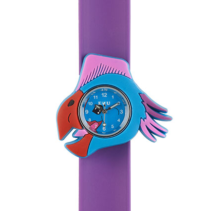 Watch with oviraptor head shape in red and blue with purple silicone snapband