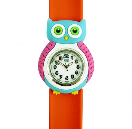 Owl Watch - red silicone strap with owl silicone shape in light blue and pink surrounding a watch face