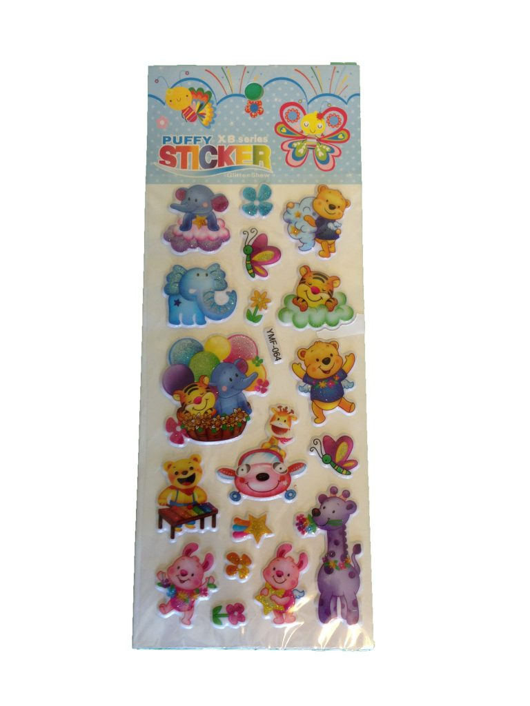 Multi coloured sheet of 18 puffy stickers featuring elephants, bears, flowers.