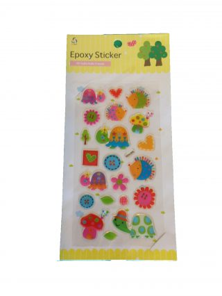 sheet of stickers featuring hedgehogs, tortoises and flowers in pastel colours