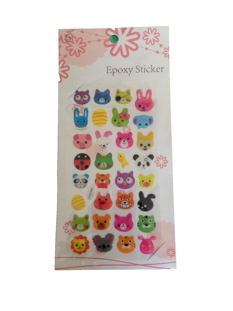 a sheet of cute slightly puffy stickers with animal head designs styled in a kawaii way. The heads are bears, cats, dogs etc with some wearing eye patches and other props