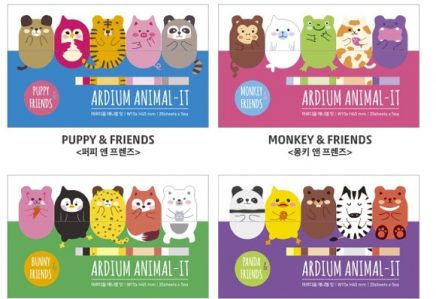 pack of page markers. each pack consists of 5 types of animal. the animals are all in bright or pastel colours and the animals differ depending on the packs