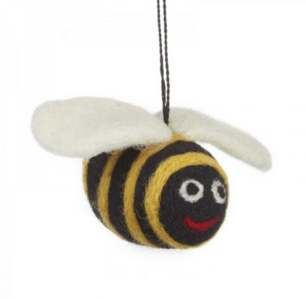 Big Bumble Bee Felt Animal - yellow and black striped bee with white wings and a smiley face