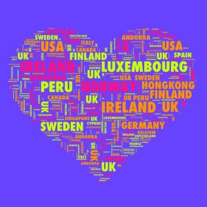 a colourful graphic featuring many country names in the shape of a heart including sweden, peru, ireland, uk, spain, france, canada, usa among many others