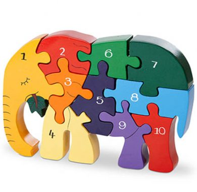 multi coloured elephant jigsaw in the shape of an elephant numbered 1-10