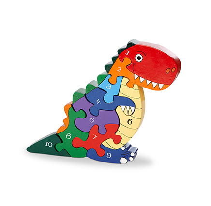 colourfu t rex jigsaw in the shape of a dinosaur