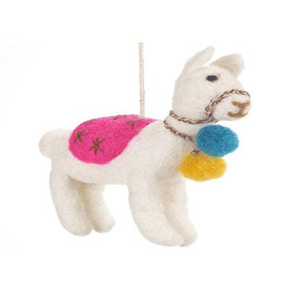 white felt llama with coloured decorations
