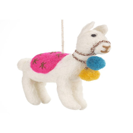white felt llama with coloured decorations