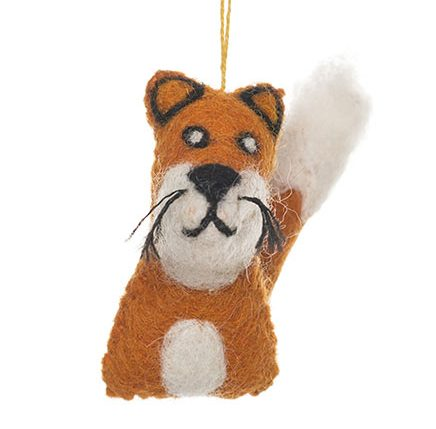 orange brown and white fox felt animal