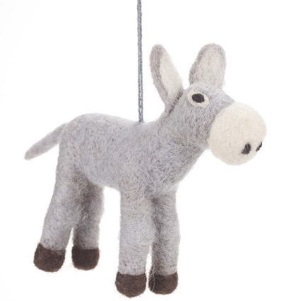 grey and white felt donkey