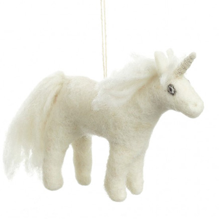white unicorn felt animal