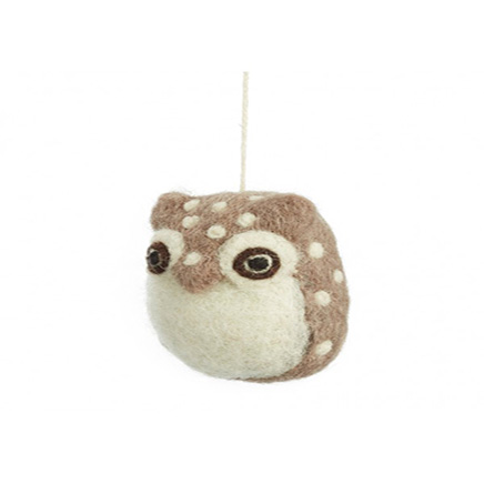 white and brown small felt owlet with a hanging decoration