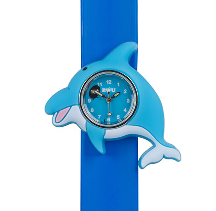 blue silicone dolphin watch on a blue silicone snapband